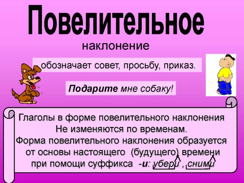 Повелительное наклонение глагола в русском языке с примерами